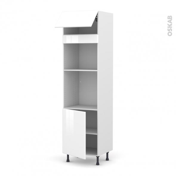 Colonne de cuisine N°1021 - Four+MO encastrable niche 45 - IRIS Blanc - 1 abattant 1 porte - L60 x H217 x P58 cm
