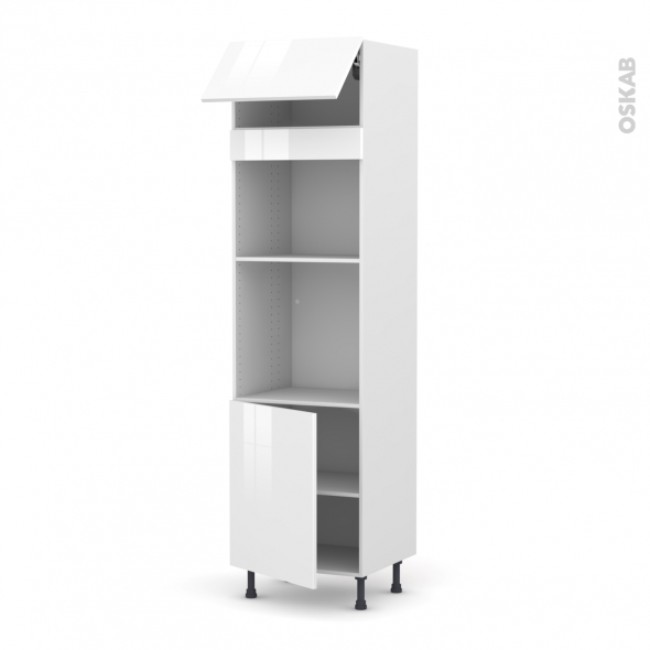 STECIA Blanc - Colonne Four+MO 45 N°1021  - 1 abattant 1 porte - L60xH217xP58