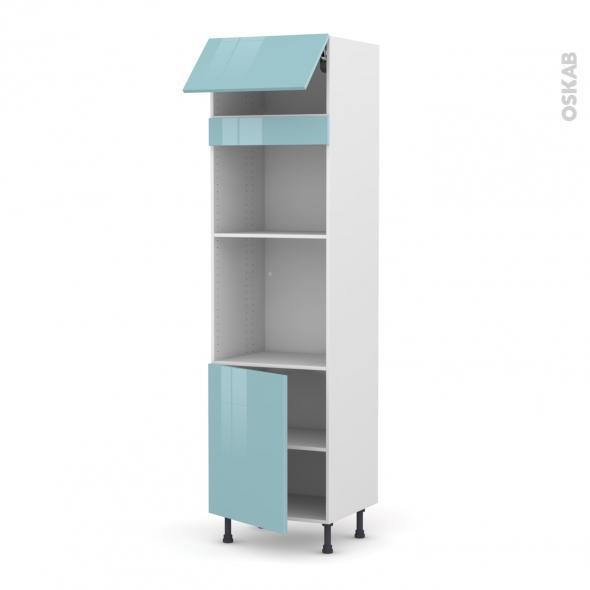 Colonne de cuisine N°1021 - Four+MO encastrable niche 45 - KERIA Bleu - 1 abattant 1 porte - L60 x H217 x P58 cm