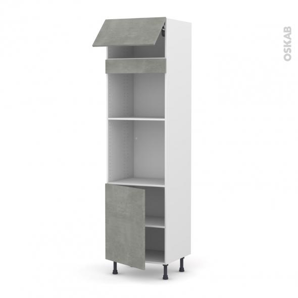 Colonne de cuisine N°1021 - Four+MO encastrable niche 45 - FAKTO Béton - 1 abattant 1 porte - L60 x H217 x P58 cm