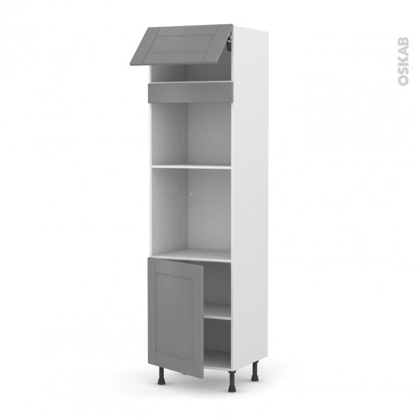 Colonne de cuisine N°1021 - Four+MO encastrable niche 45 - FILIPEN Gris - 1 abattant 1 porte - L60 x H217 x P58 cm