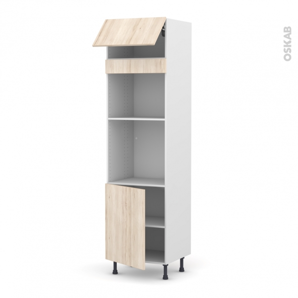 Colonne de cuisine N°1021 - Four+MO encastrable niche 45 - IKORO Chêne clair - 1 abattant 1 porte - L60 x H217 x P58 cm