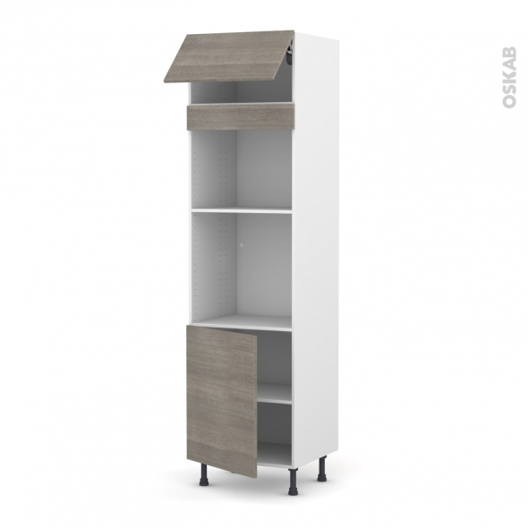 Colonne de cuisine N°1021 - Four+MO encastrable niche 45 - STILO Noyer Naturel - 1 abattant 1 porte - L60 x H217 x P58 cm
