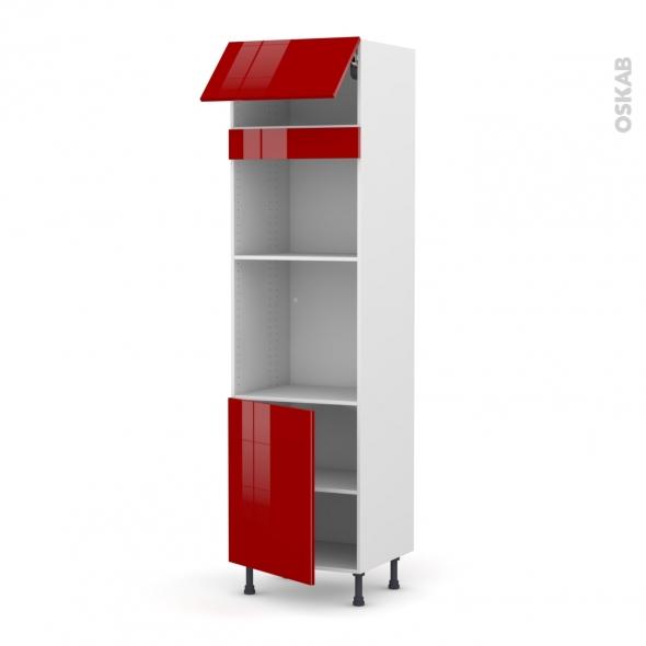 Colonne de cuisine N°1021 - Four+MO encastrable niche 45 - STECIA Rouge - 1 abattant 1 porte - L60 x H217 x P58 cm