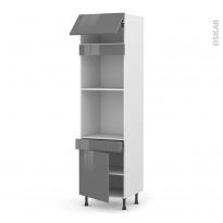 Colonne de cuisine N°1056 - Four+MO encastrable niche 45 - STECIA Gris - 1 abattant 1 porte 1 tiroir - L60 x H217 x P58 cm