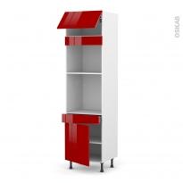 Colonne de cuisine N°1056 - Four+MO encastrable niche 45 - STECIA Rouge - 1 abattant 1 porte 1 tiroir - L60 x H217 x P58 cm