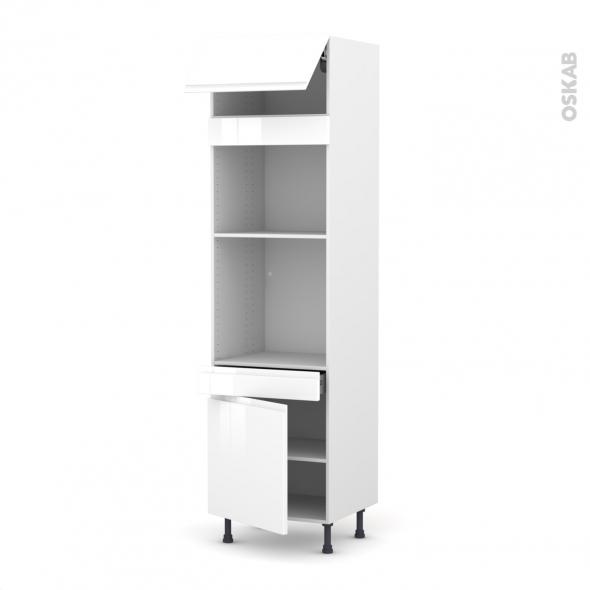 Colonne de cuisine N°1056 - Four+MO encastrable niche 45 - IPOMA Blanc - 1 abattant 1 porte 1 tiroir - L60 x H217 x P58 cm