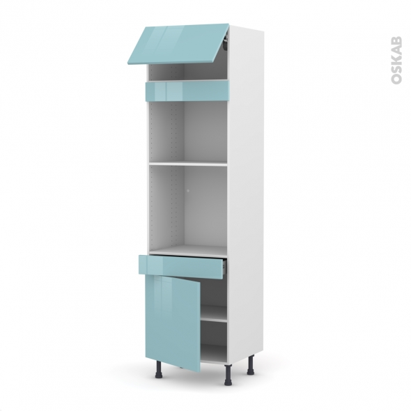 Colonne de cuisine N°1056 - Four+MO encastrable niche 45 - KERIA Bleu - 1 abattant 1 porte 1 tiroir - L60 x H217 x P58 cm