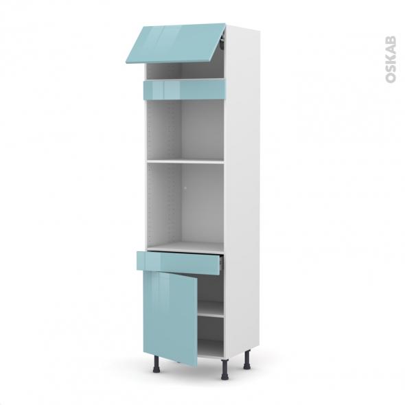 KERIA Bleu - Colonne Four+MO 45 N°1056  - 1 abattant 1 porte 1 tiroir - L60xH217xP58