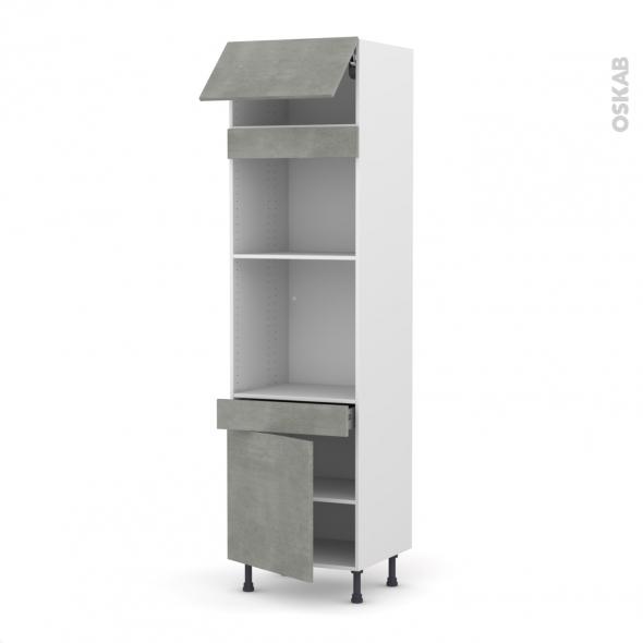 Colonne de cuisine N°1056 - Four+MO encastrable niche 45 - FAKTO Béton - 1 abattant 1 porte 1 tiroir - L60 x H217 x P58 cm
