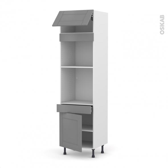 Colonne de cuisine N°1056 - Four+MO encastrable niche 45 - FILIPEN Gris - 1 abattant 1 porte 1 tiroir - L60 x H217 x P58 cm