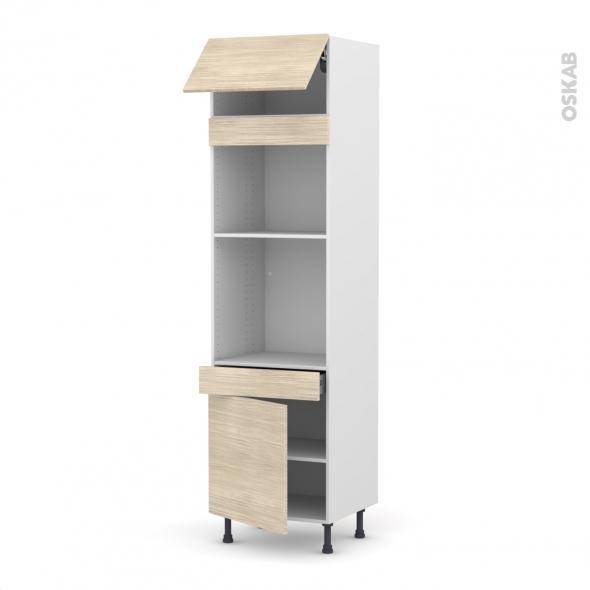 Colonne de cuisine N°1056 - Four+MO encastrable niche 45 - STILO Noyer Blanchi - 1 abattant 1 porte 1 tiroir - L60 x H217 x P58 cm