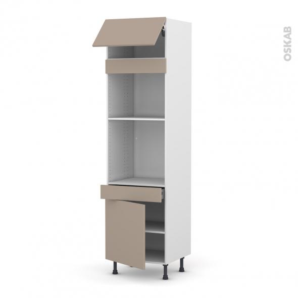 Colonne de cuisine N°1056 - Four+MO encastrable niche 45 - GINKO Taupe - 1 abattant 1 porte 1 tiroir - L60 x H217 x P58 cm