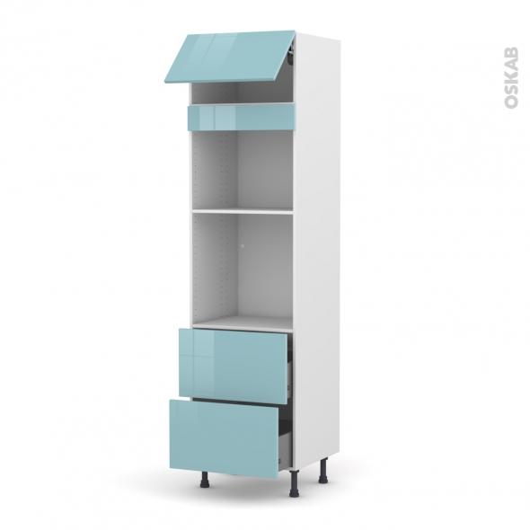 KERIA Bleu - Colonne Four+MO 45 N°1057  - 1 abattant 2 casseroliers - L60xH217xP58