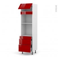 Colonne de cuisine N°1058 - Four+MO encastrable niche 45 - STECIA Rouge - 1 abattant 3 tiroirs - L60 x H217 x P58 cm