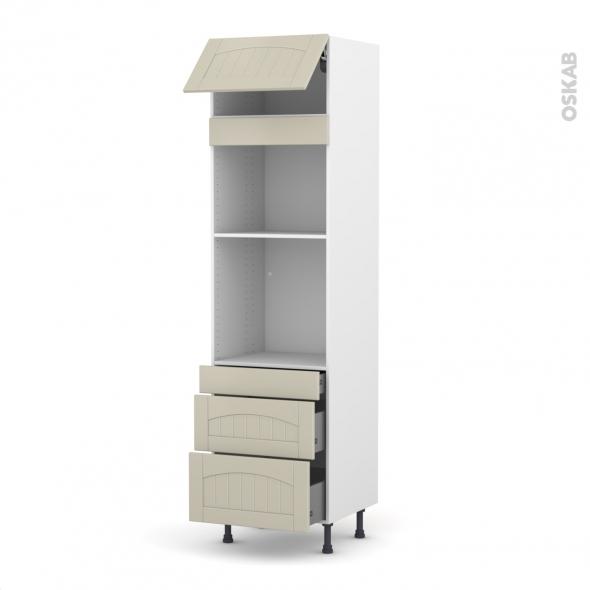 SILEN Argile - Colonne Four+MO 45 N°1058  - 1 abattant 3 tiroirs - L60xH217xP58