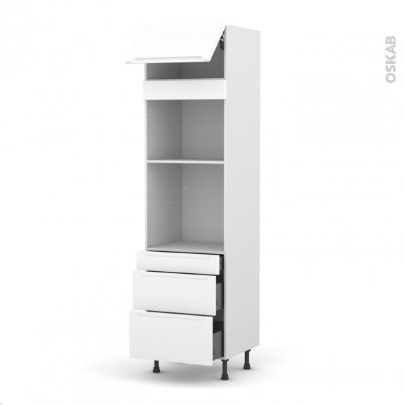 Colonne de cuisine N°1058 - Four+MO encastrable niche 45 - PIMA Blanc - 1 abattant 3 tiroirs - L60 x H217 x P58 cm