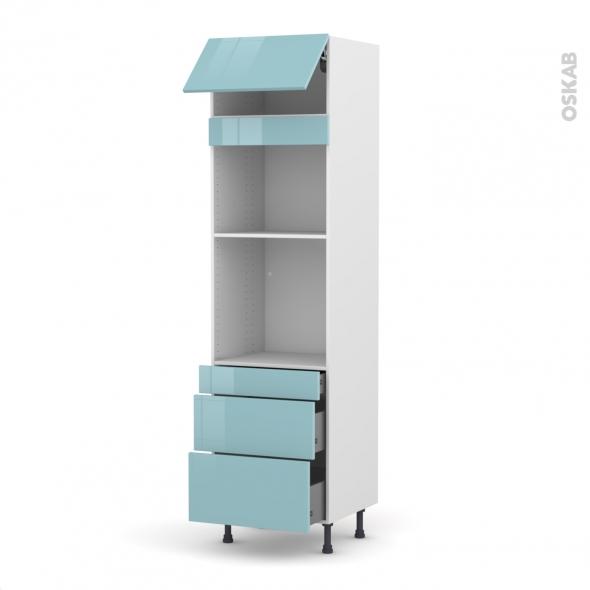 Colonne de cuisine N°1058 - Four+MO encastrable niche 45 - KERIA Bleu - 1 abattant 3 tiroirs - L60 x H217 x P58 cm