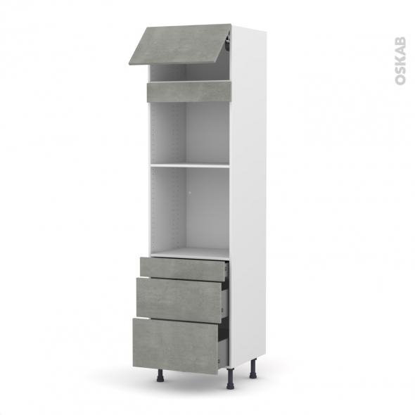 Colonne de cuisine N°1058 - Four+MO encastrable niche 45 - FAKTO Béton - 1 abattant 3 tiroirs - L60 x H217 x P58 cm