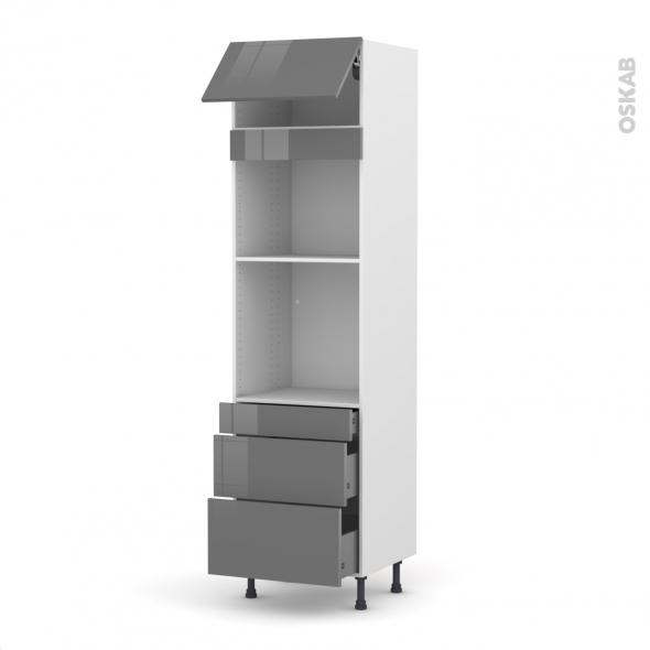 Colonne de cuisine N°1058 - Four+MO encastrable niche 45 - STECIA Gris - 1 abattant 3 tiroirs - L60 x H217 x P58 cm