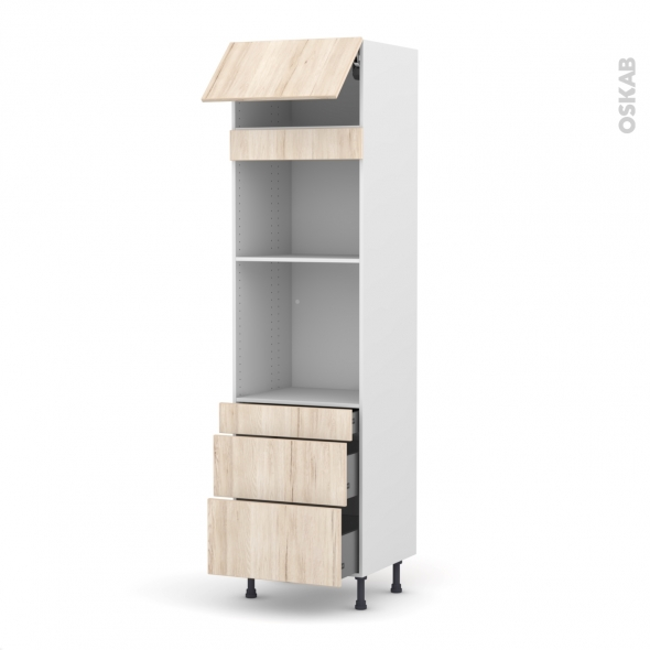 Colonne de cuisine N°1058 - Four+MO encastrable niche 45 - IKORO Chêne clair - 1 abattant 3 tiroirs - L60 x H217 x P58 cm