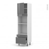 Colonne de cuisine N°1610 - Four+MO encastrable niche 45 - STECIA Gris - 1 porte 2 tiroirs - L60 x H217 x P58 cm