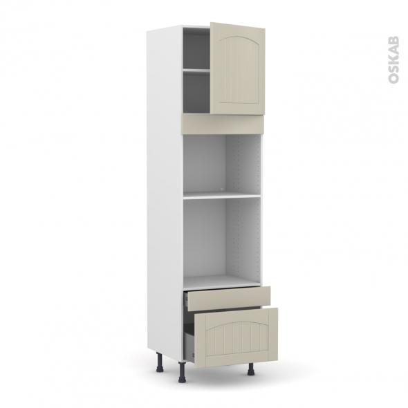 SILEN Argile - Colonne Four+MO 45 N°1610  - 1 porte 2 tiroirs - L60xH217xP58 - droite