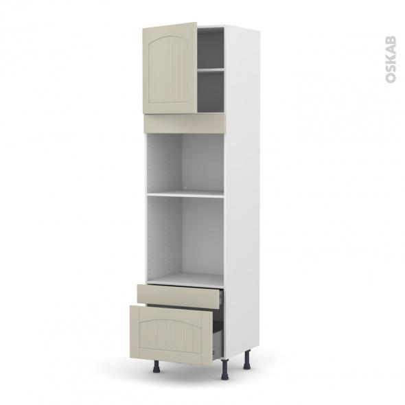 SILEN Argile - Colonne Four+MO 45 N°1610  - 1 porte 2 tiroirs - L60xH217xP58 - gauche
