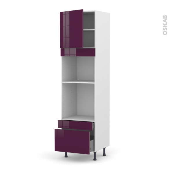 Colonne de cuisine N°1610 - Four+MO encastrable niche 45 - KERIA Aubergine - 1 porte 2 tiroirs - L60 x H217 x P58 cm