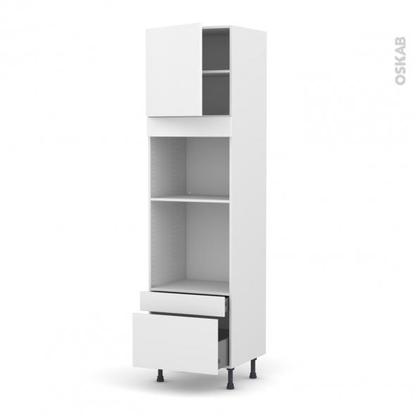 Colonne de cuisine N°1610 - Four+MO encastrable niche 45 - GINKO Blanc - 1 porte 2 tiroirs - L60 x H217 x P58 cm