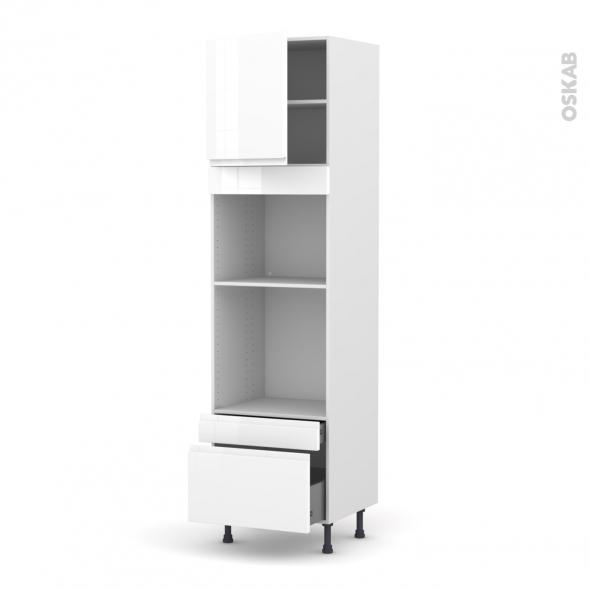 Colonne de cuisine N°1610 - Four+MO encastrable niche 45 - IPOMA Blanc - 1 porte 2 tiroirs - L60 x H217 x P58 cm