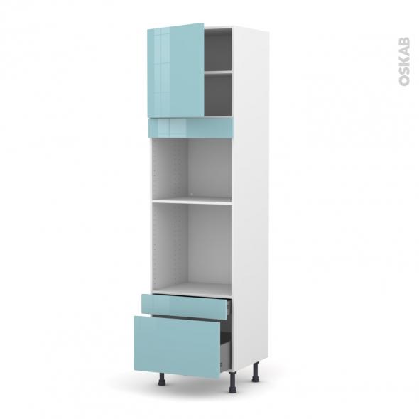 KERIA Bleu - Colonne Four+MO 45 N°1610  - 1 porte 2 tiroirs - L60xH217xP58