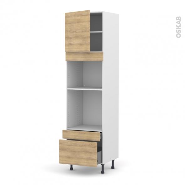 Colonne de cuisine N°1610 - Four+MO encastrable niche 45 - HOSTA Chêne naturel - 1 porte 2 tiroirs - L60 x H217 x P58 cm