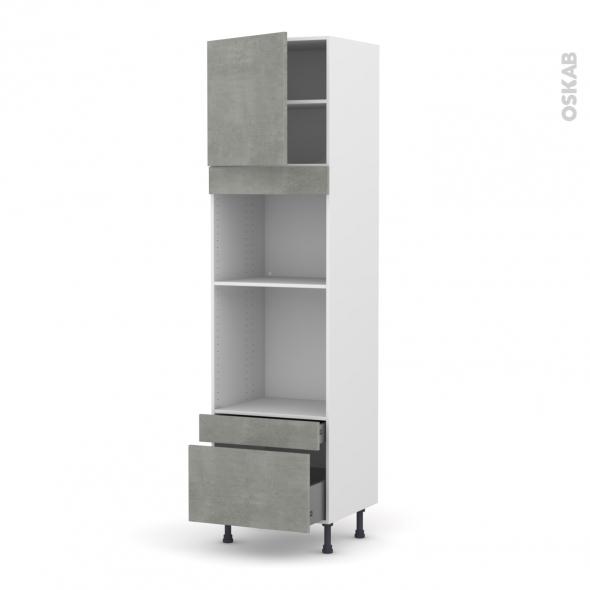 Colonne de cuisine N°1610 - Four+MO encastrable niche 45 - FAKTO Béton - 1 porte 2 tiroirs - L60 x H217 x P58 cm