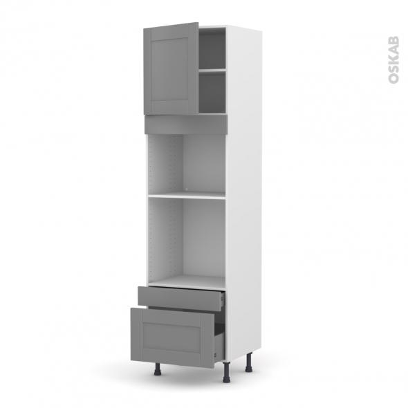 Colonne de cuisine N°1610 - Four+MO encastrable niche 45 - FILIPEN Gris - 1 porte 2 tiroirs - L60 x H217 x P58 cm