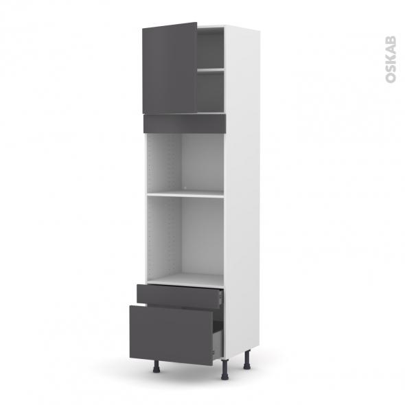 Colonne de cuisine N°1610 - Four+MO encastrable niche 45 - GINKO Gris - 1 porte 2 tiroirs - L60 x H217 x P58 cm