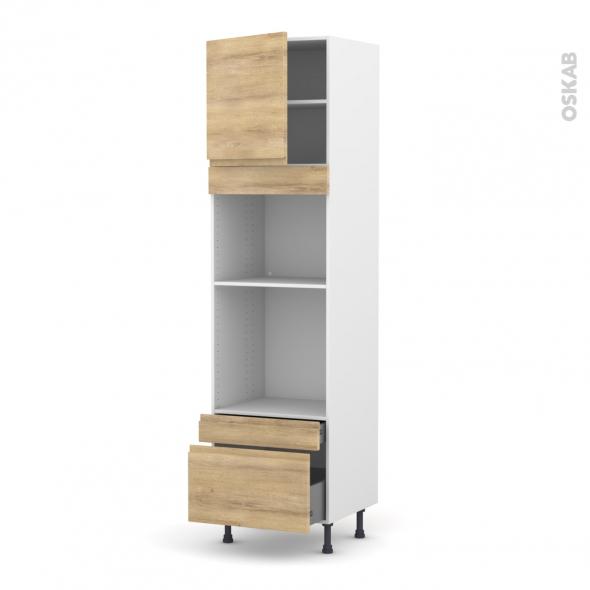 Colonne de cuisine N°1610 - Four+MO encastrable niche 45 - IPOMA Chêne naturel - 1 porte 2 tiroirs - L60 x H217 x P58 cm