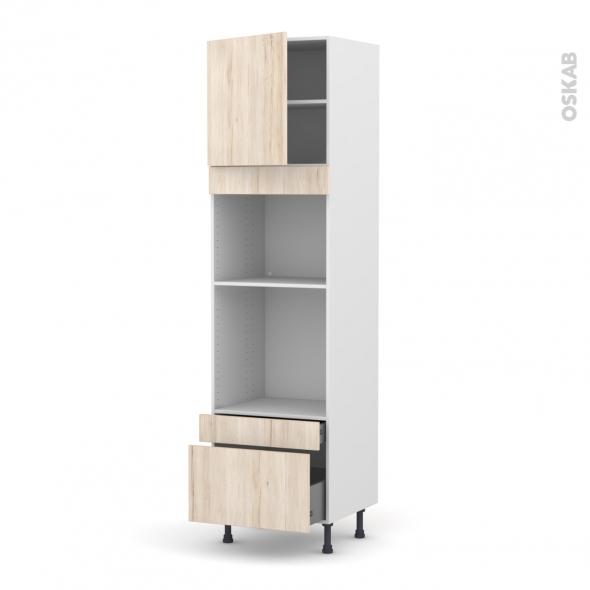 Colonne de cuisine N°1610 - Four+MO encastrable niche 45 - IKORO Chêne clair - 1 porte 2 tiroirs - L60 x H217 x P58 cm