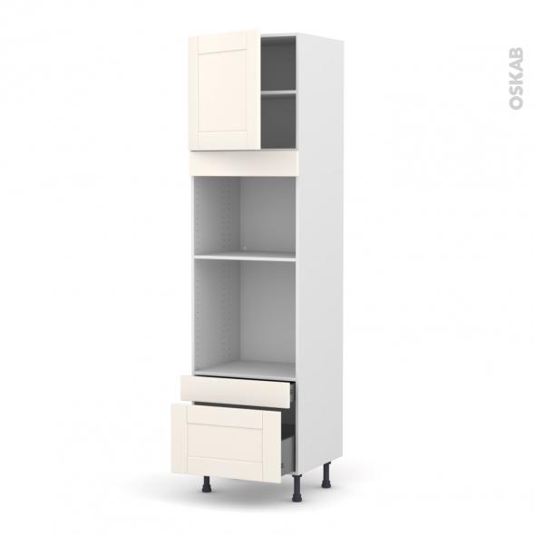 Colonne de cuisine N°1610 - Four+MO encastrable niche 45 - FILIPEN Ivoire - 1 porte 2 tiroirs - L60 x H217 x P58 cm