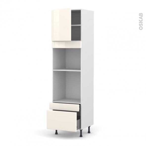 IRIS Ivoire - Colonne Four+MO 45 N°1610  - 1 porte 2 tiroirs - L60xH217xP58