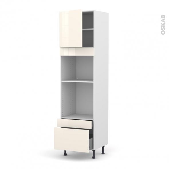 Colonne de cuisine N°1610 - Four+MO encastrable niche 45 - KERIA Ivoire - 1 porte 2 tiroirs - L60 x H217 x P58 cm