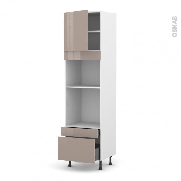 Colonne de cuisine N°1610 - Four+MO encastrable niche 45 - KERIA Moka - 1 porte 2 tiroirs - L60 x H217 x P58 cm