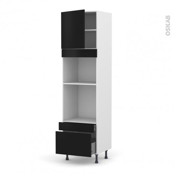 GINKO Noir - Colonne Four+MO 45 N°1610  - 1 porte 2 tiroirs - L60xH217xP58