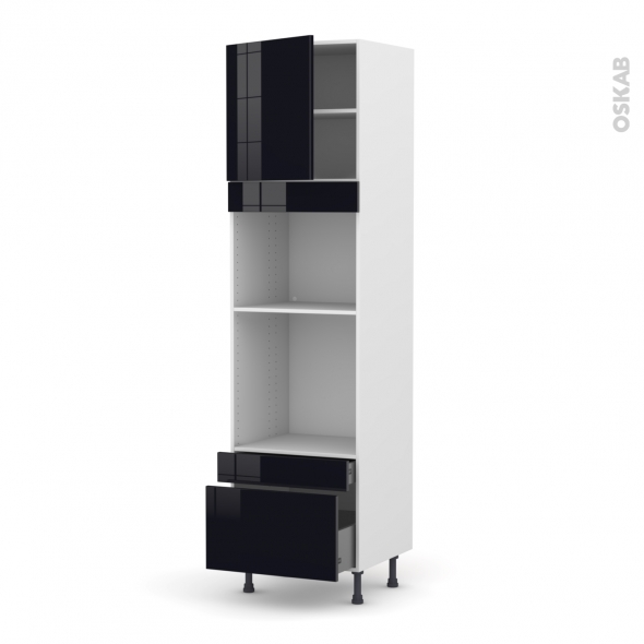 Colonne de cuisine N°1610 - Four+MO encastrable niche 45 - KERIA Noir - 1 porte 2 tiroirs - L60 x H217 x P58 cm
