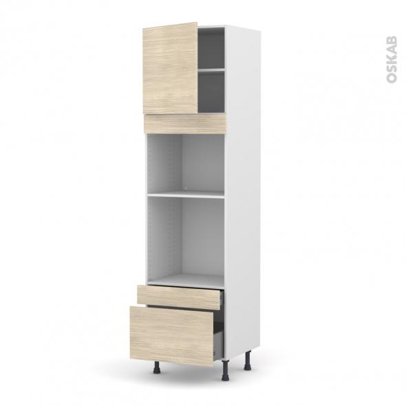 Colonne de cuisine N°1610 - Four+MO encastrable niche 45 - STILO Noyer Blanchi - 1 porte 2 tiroirs - L60 x H217 x P58 cm