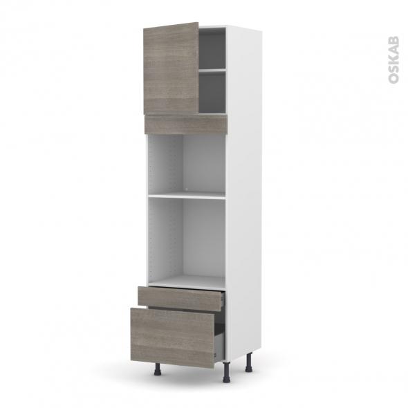 Colonne de cuisine N°1610 - Four+MO encastrable niche 45 - STILO Noyer Naturel - 1 porte 2 tiroirs - L60 x H217 x P58 cm