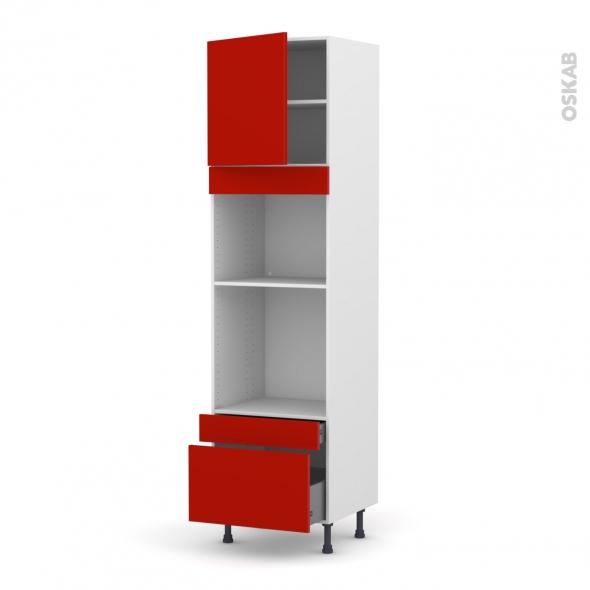 GINKO Rouge - Colonne Four+MO 45 N°1610  - 1 porte 2 tiroirs - L60xH217xP58