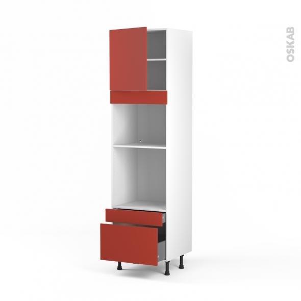 HELIO Rouge - Colonne Four+MO 45 N°1610  - 1 porte 2 tiroirs - L60xH217xP58