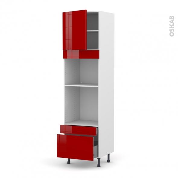 Colonne de cuisine N°1610 - Four+MO encastrable niche 45 - STECIA Rouge - 1 porte 2 tiroirs - L60 x H217 x P58 cm