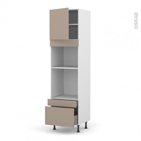 Colonne de cuisine N°1610 - Four+MO encastrable niche 45 - GINKO Taupe - 1 porte 2 tiroirs - L60 x H217 x P58 cm